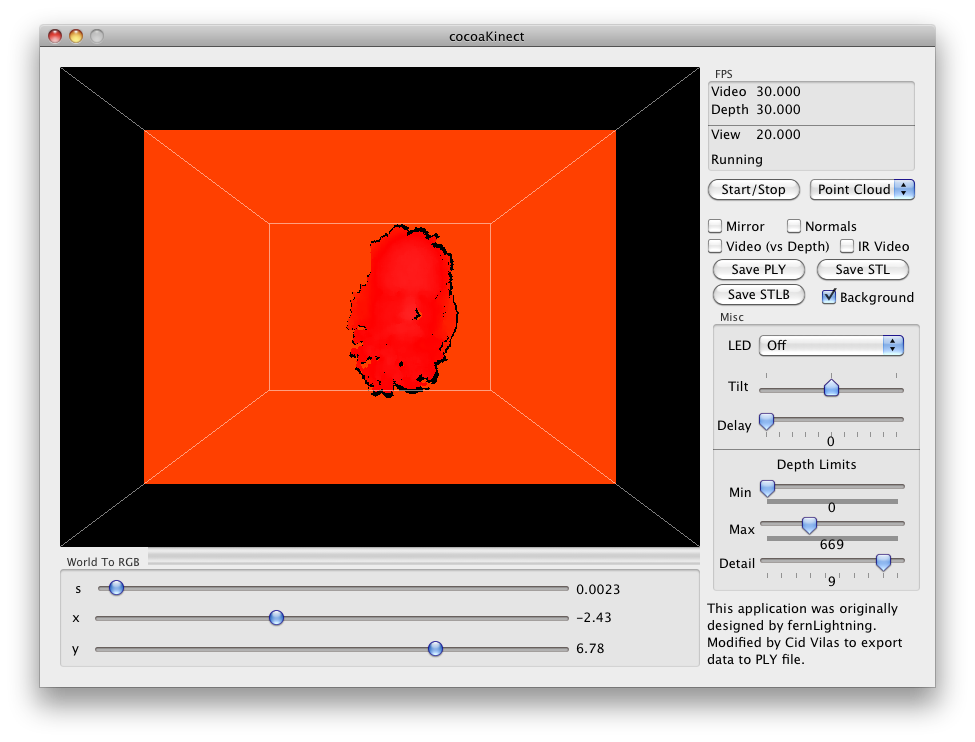 Kinect 3D scanning in OSX with CocoaKinect