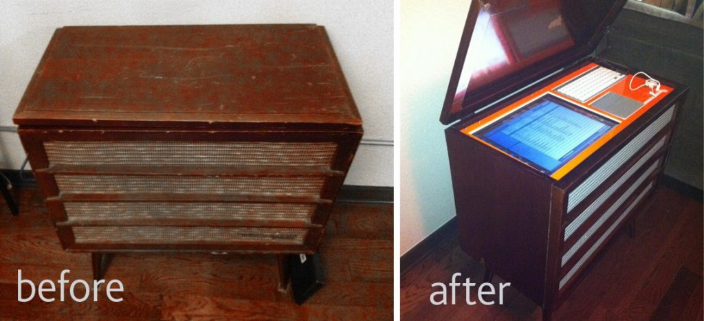 Turning An Old Radio Cabinet Into A Modern, Portable Music Console