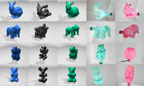3D printed balloon process, showing optimized and unoptimized figures
