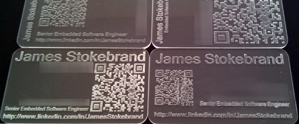 Scan this diy lasercut business cards with qr codes another mishap was using petg a clear and flexible but delicate plastic james took his invisible broken cards in stride what can i say reheart Choice Image