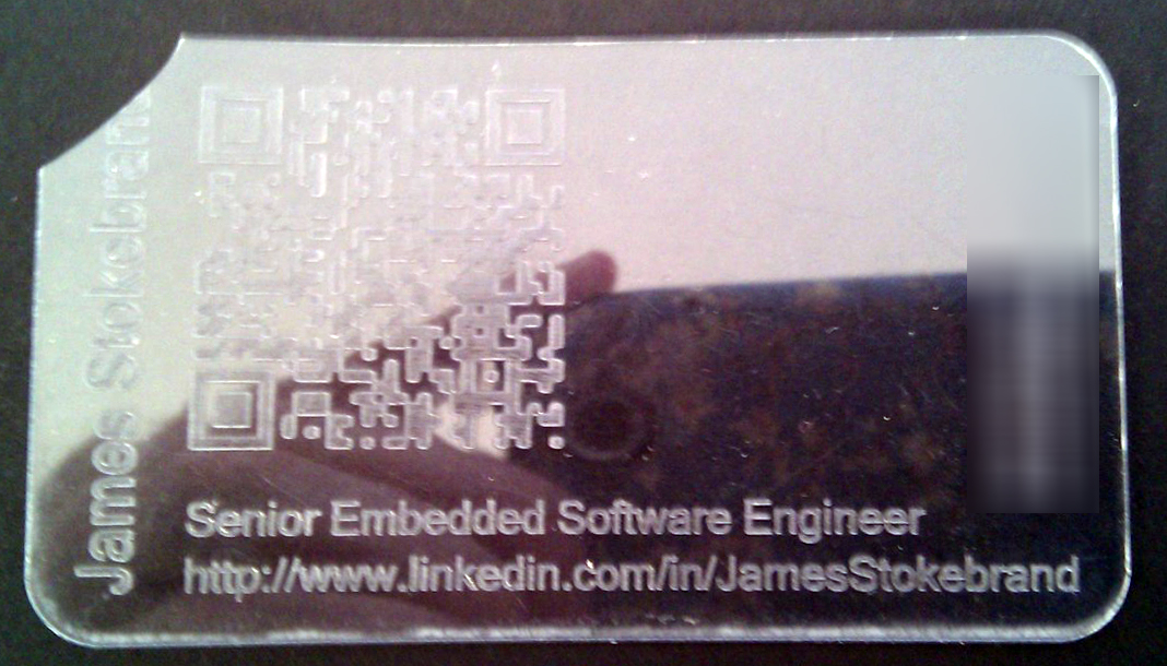 Scan this diy lasercut business cards with qr codes his next experiment turned out better resulting in an embossed look by cutting away the background instead of the design the cards look great reheart Choice Image