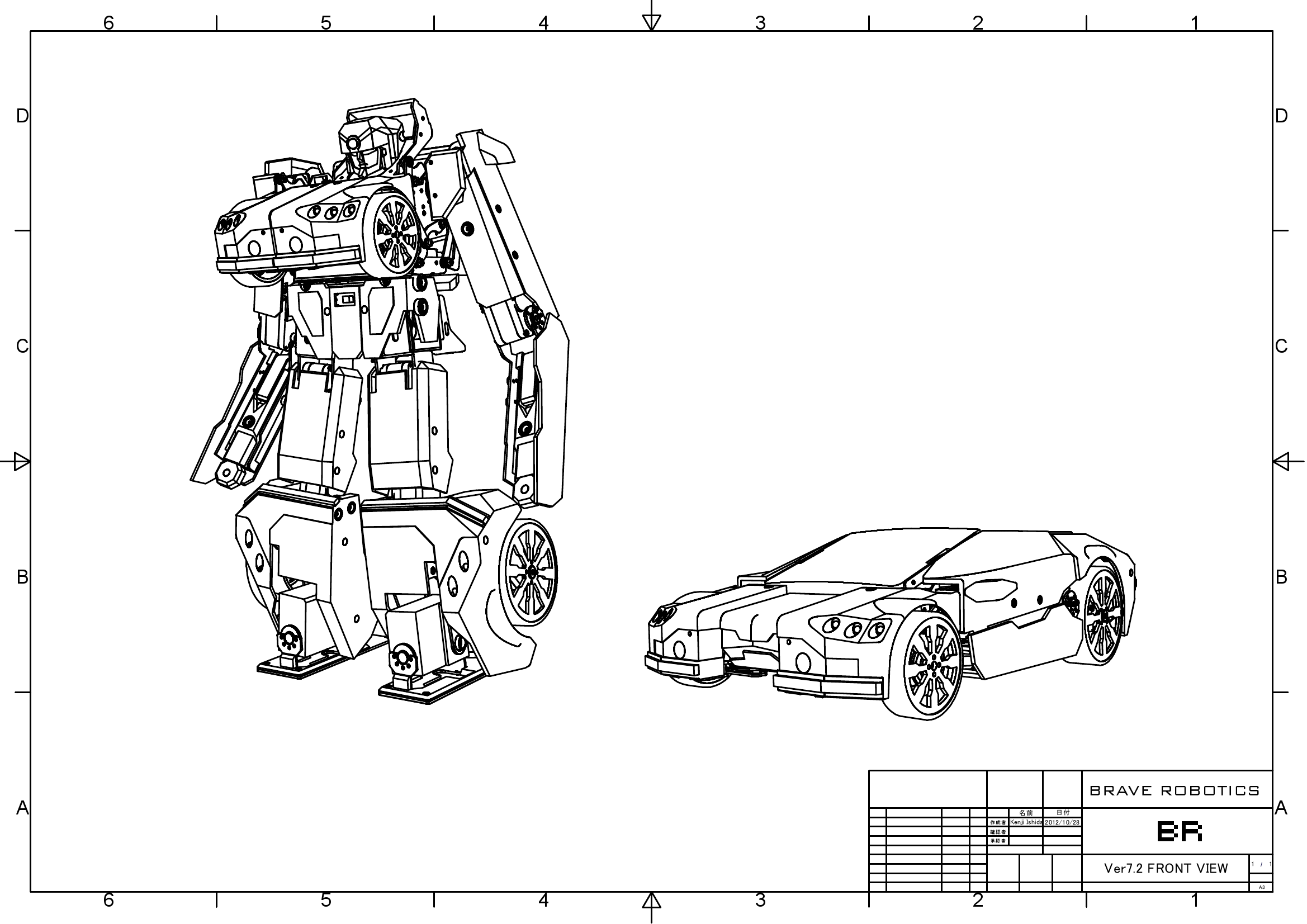 Transforming robot made with 3D printed parts