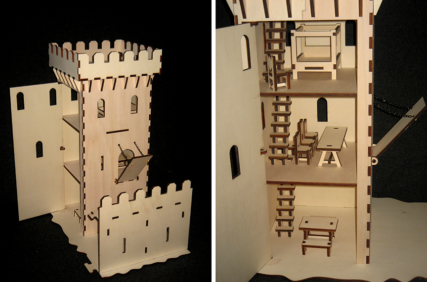 Awesome Laser Cut Castle Under Attack Features Working Catapult