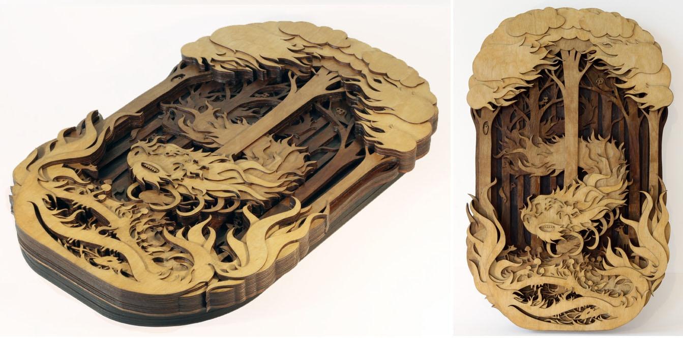Ornate laser cut wood with depth - Ponoko Ponoko