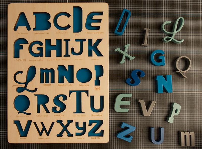 Laser cut wooden alphabet puzzle