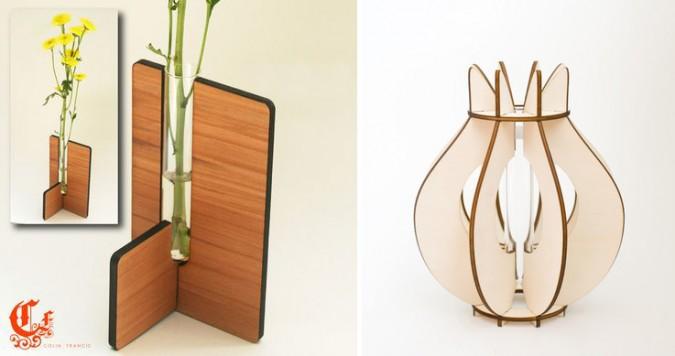 laser cut flat pack vase