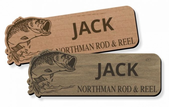 wood laser cut name tags