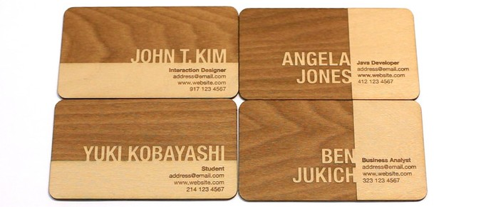 creative promotional product ideas - wooden business cards and name tags