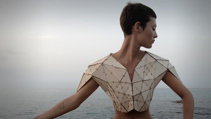 laser cut fashion wood shirt