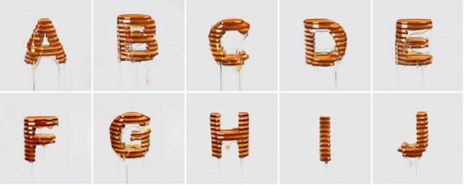 Laser cut typography honey