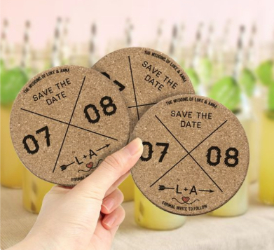 laser cut save-the-date coasters