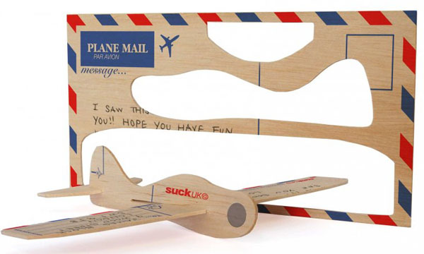 laser cut wood airplane postcard
