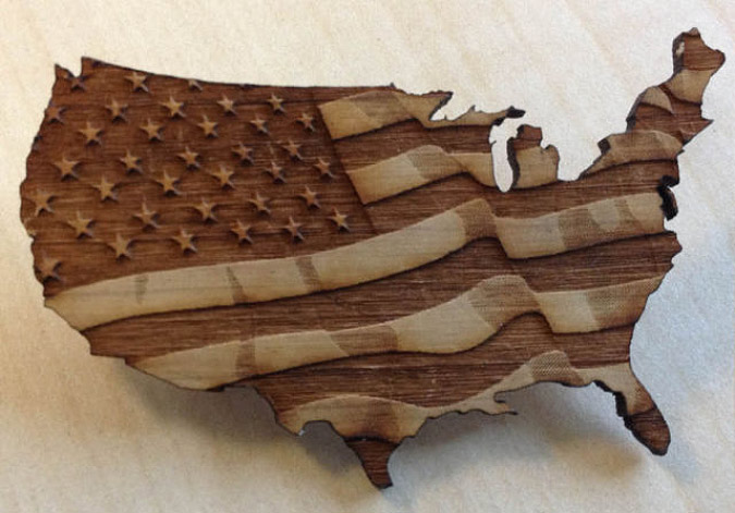 laser cut and etched american flag