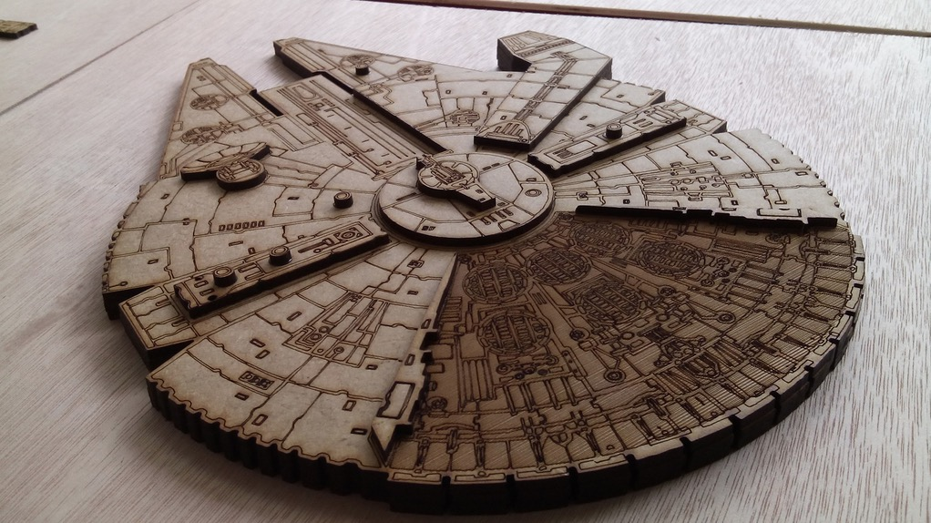 laser cut millenium falcon