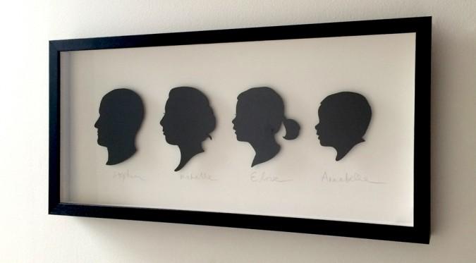 laser cut family silhouette portrait