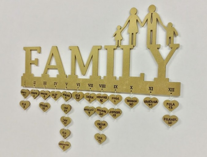 laser cut family birthday calendar