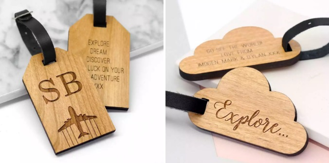 laser cut luggage tags