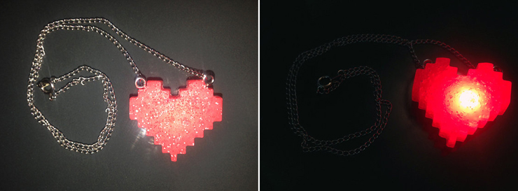LED heart necklace.