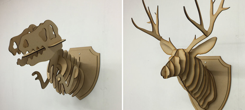 Laser cut MDF flat pack animal heads from TheCraftyCowLtd
