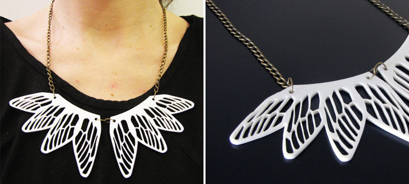Laser cut white acrylic dragonfly necklace from BenditaIndomina