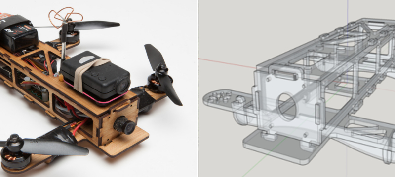 Laser cut bamboo drone from Andy Shen