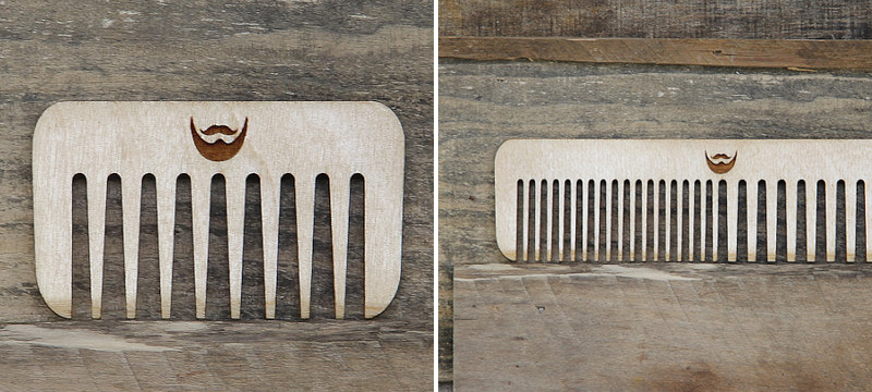 Laser cut birch beard comb from miniFab