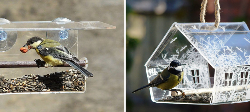 Laser cut clear acrylic birdhouses from Artbirdfeeder