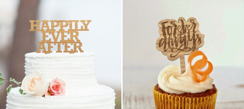 Laser cut bamboo wedding cake toppers from ElectricElmDesign