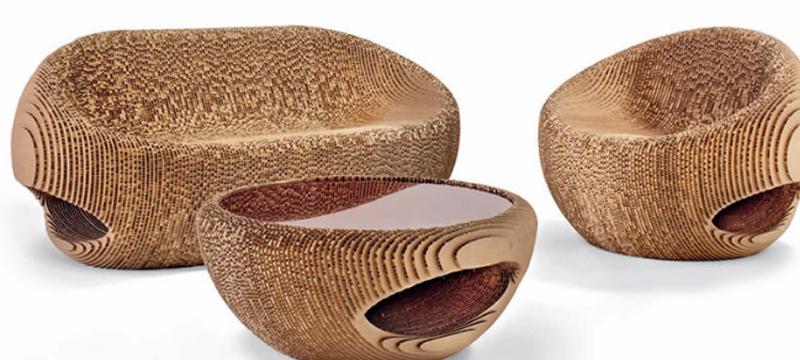 Laser cut cardboard furniture by Origami Furniture
