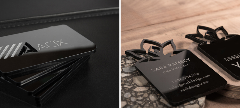 Laser cut black acrylic business cards from RockDesign
