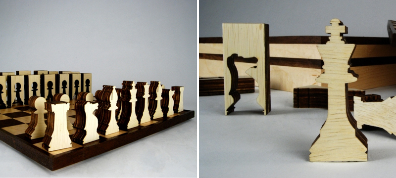 Laser cut birch chess set from Matthew Livaudais