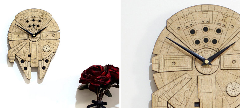 Laser cut birch Star Wars Millennium Falcon inspired wall clock from HamsterCheeksStore