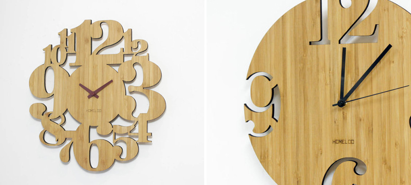Laser cut bamboo clocks from HOMELOO