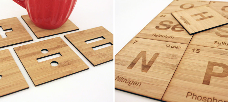 Laser cut bamboo coaster sets from GeekModish