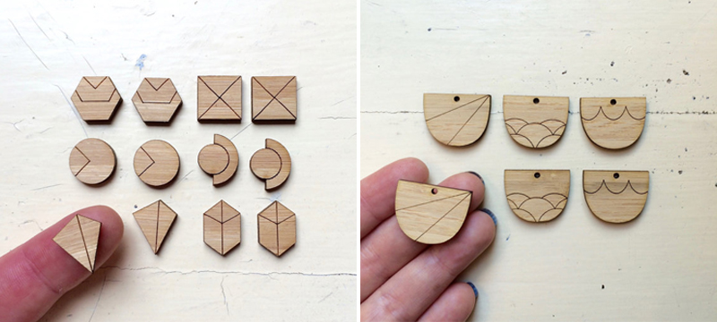 Laser cut bamboo cabochons from CraftyCutsLaser