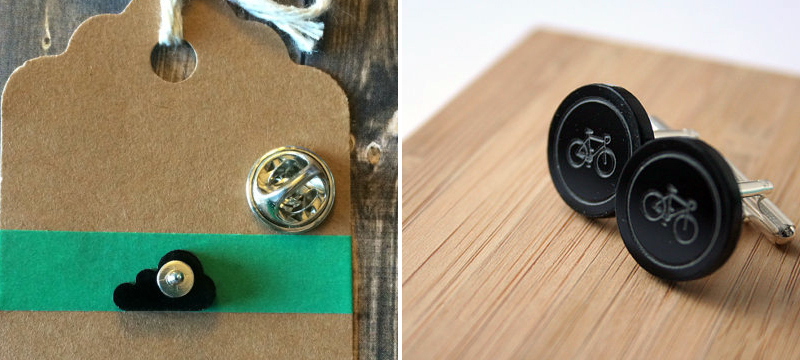Laser cut matte black acrylic lapel pins, tie tack and cufflinks from SkullAndHawk