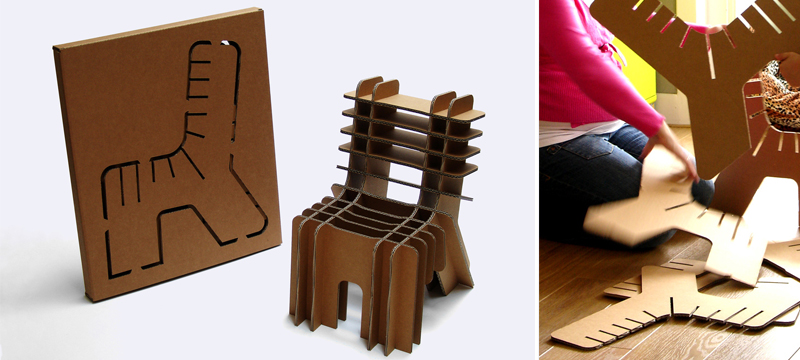 Laser cut cardboard children's chair by David Graas
