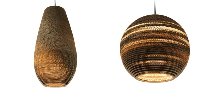 Laser cut cardboard lighting by Graypants