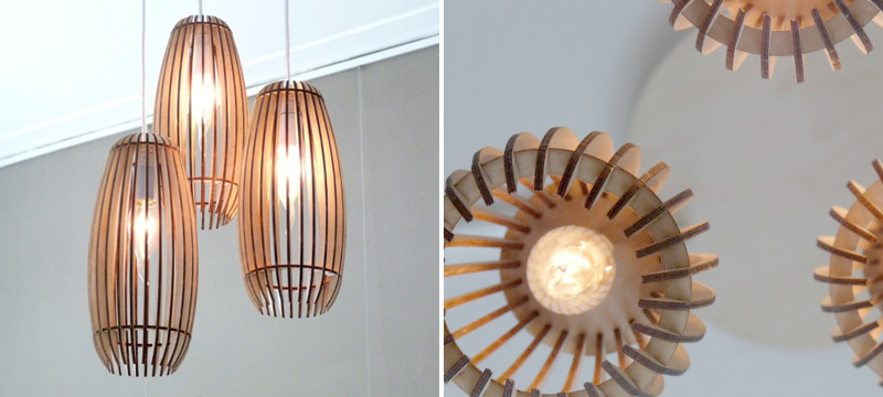 Laser cut birch hanging lamps from CreativeUseofTech