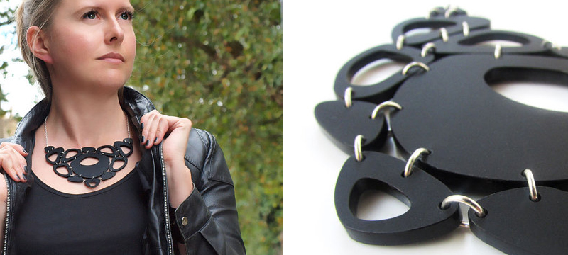 Laser cut matte black acrylic statement necklace from PrettyUrbanCo