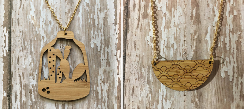 Laser cut bamboo necklaces from MGreenhalghDesigns