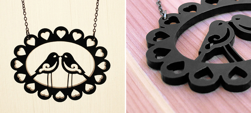 Laser cut black acrylic love bird necklace from CABfayre