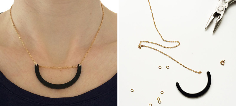 Laser cut matte black acrylic smile necklace from RoseThomasShop