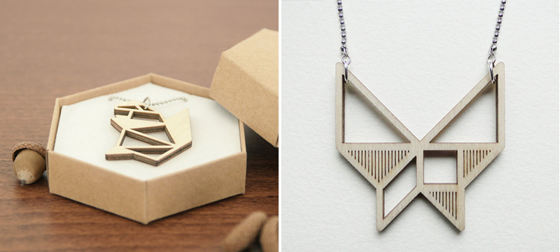 Laser cut birch origami-inspired necklaces from OrigamiZoo