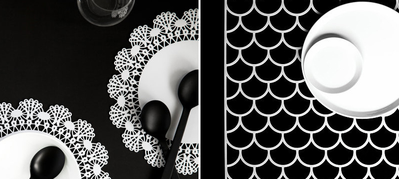 Laser cut white acrylic placemats from ByCharlie