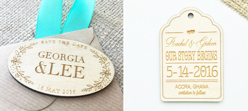Laser cut birch wedding save-the-date invitation tags and magnets from JSLaserCraft
