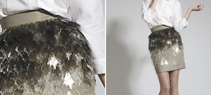 Fashion skirt with laser cut clear acrylic applique from Joanna Vanderpuije