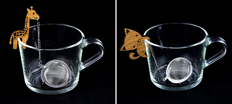 Laser cut bamboo Tea Buddy from TheOtherLabs