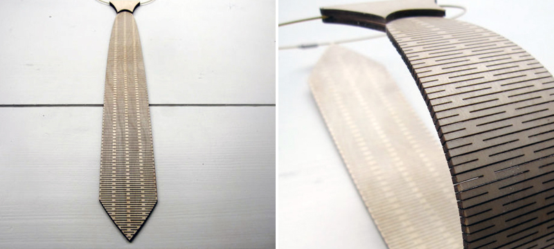 Laser cut birch necktie from CreativeUseofTech