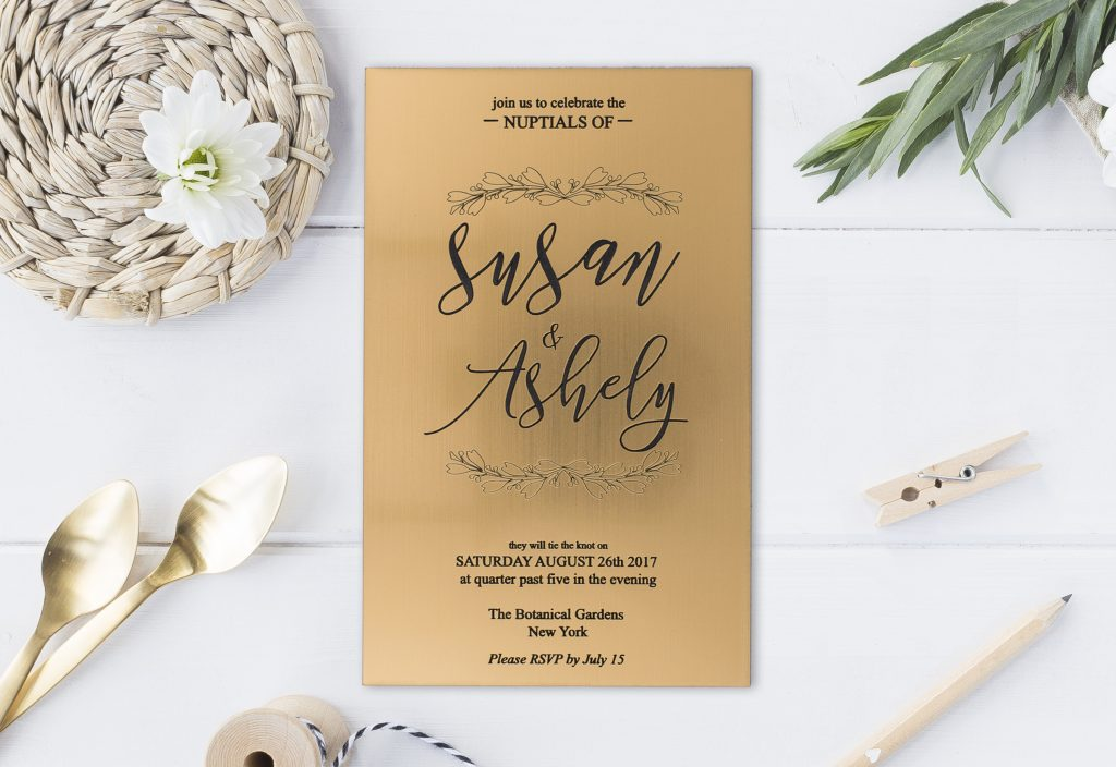 Gold On Black Acrylic Wedding Invitation Styled